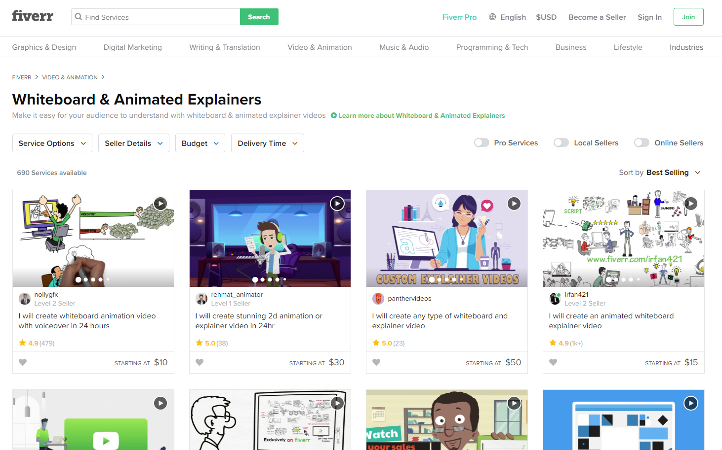 Fiverr Whiteboard Animation Category