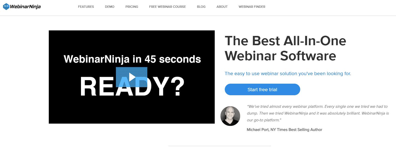 webinarninja home page